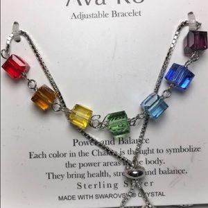 Sterling Chakra Swarovski Crystal Bracelet